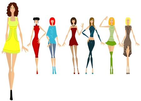 Seven beautiful girls in different clothes. Vector illustration