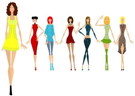 Zeven mooie meisjes in verschillende kleren. Vector illustratie