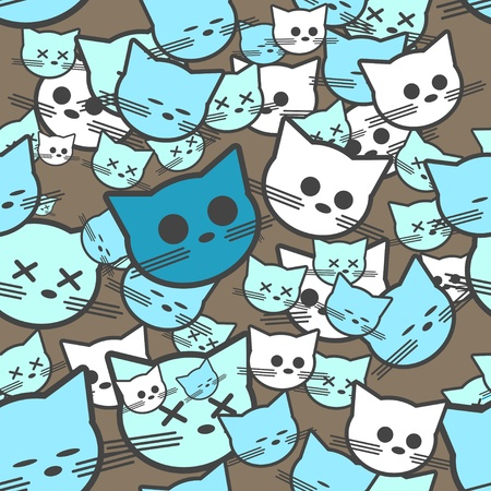 Seamless pattern with funny cats.