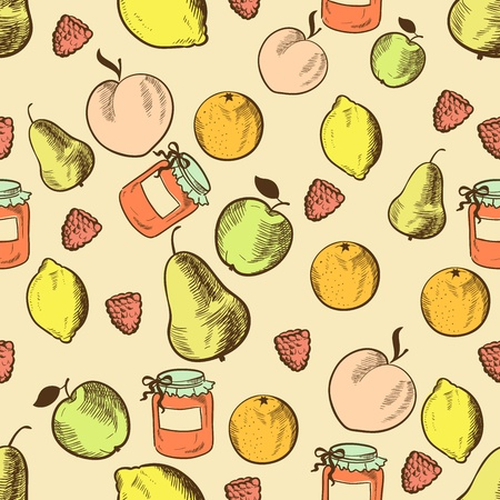 Fruits in retro style seamless pattern. Vector