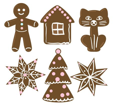gingerbread cake: Collection of Christmas cookies. Illustration