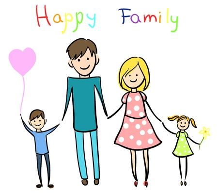 Happy family holding hands and smiling.  Illustration