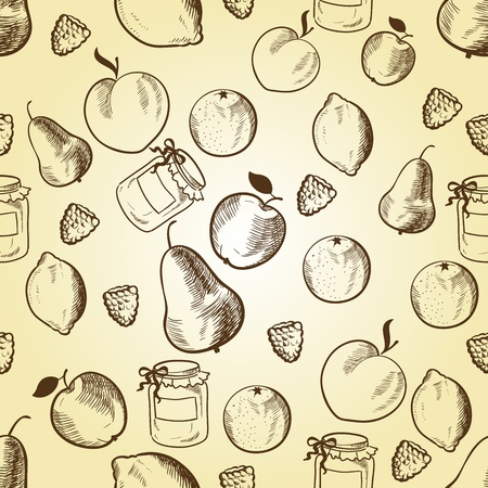 Fruits in retro style seamless pattern. Vector illustration