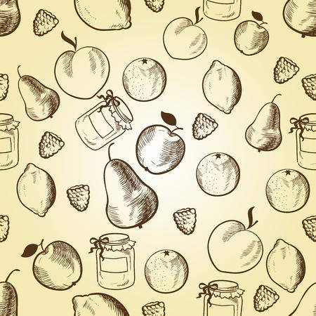 Owoce w stylu retro szwu wzór. Ilustracji wektorowych