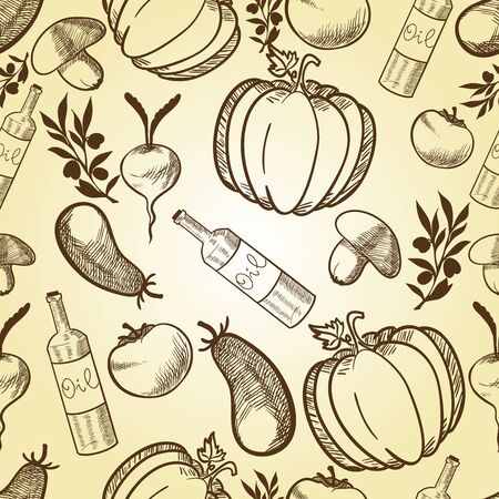 Vegetables in retro style seamless pattern. Vector illustration