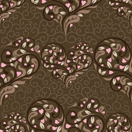 Seamless pattern with abstract heart. Vector illustration Vector