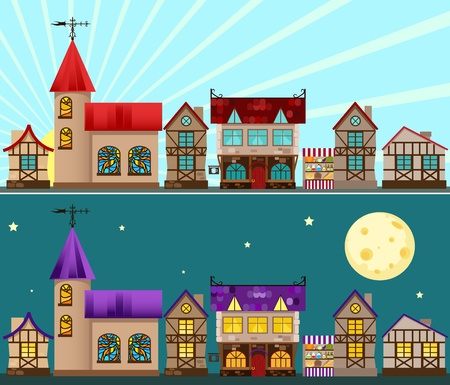 old building facade: Medieval city day and night. Vector illustration