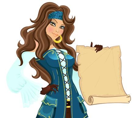 pirata: Pirata chica con desplazamiento. Ilustración vectorial Vectores