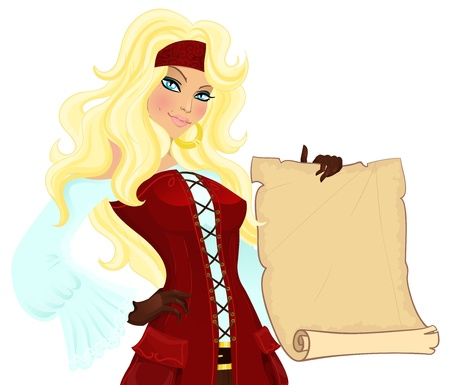 Pirate girl with scroll. Vector illustration Vector
