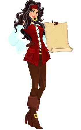 mujer pirata: Pirata chica con desplazamiento. Ilustración vectorial Vectores