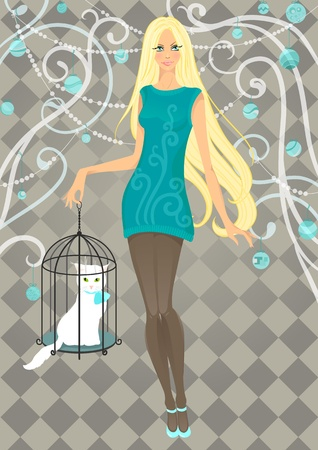 Beautiful girl with cat in cage. illustration Vector