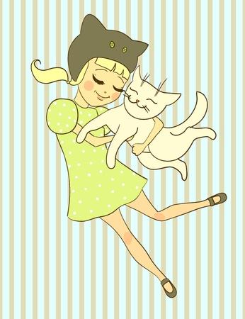 Girl holds cat. illustration Vector