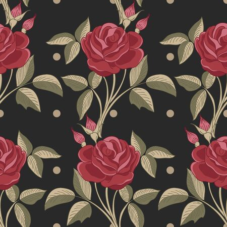 Seamless pattern with roses. illustration Illustration