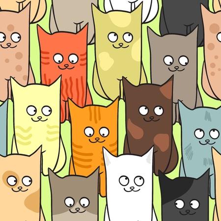 gato caricatura: Sin fisuras patr�n con el color de los gatos gracioso. ilustraci�n