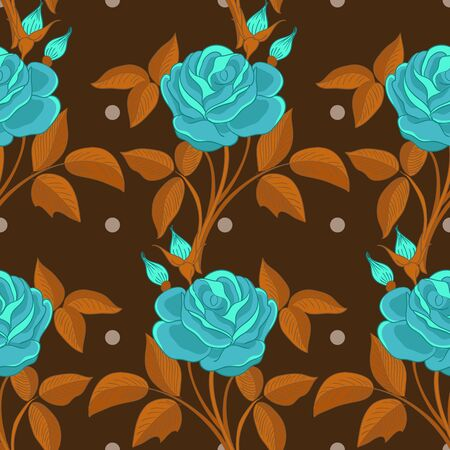 Seamless pattern with roses illustration Vector