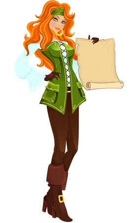 Pirate girl with scroll illustration Vector