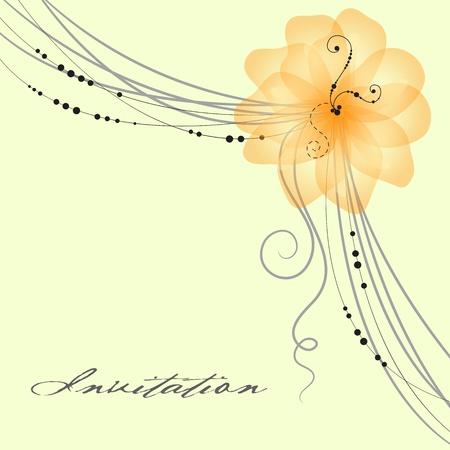 pink wedding: Floral wedding card illustration