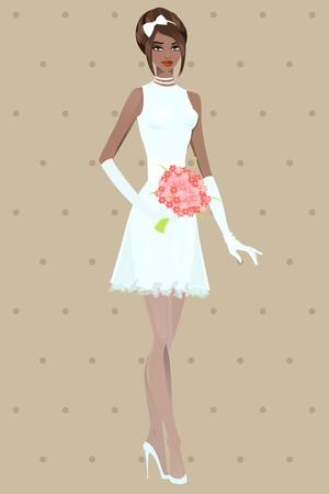Beautiful girl in wedding dress illustration Vector