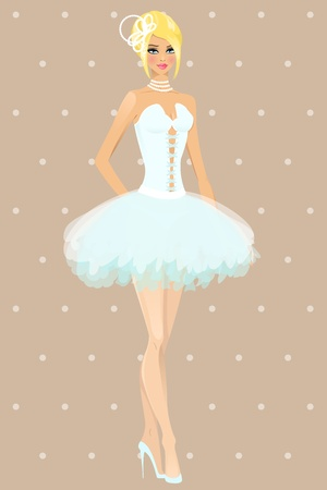 Beautiful girl in wedding dress illustration Vector