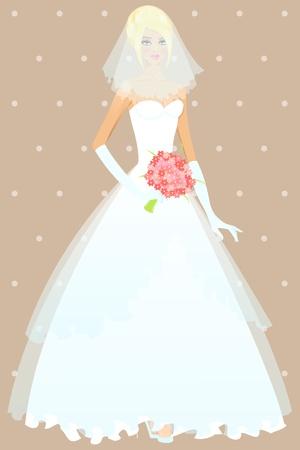 bridesmaid: Beautiful girl in wedding dress illustration