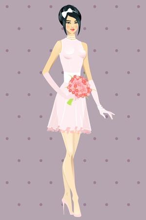 Hermosa niña en la ilustración del vestido de boda Ilustración de vector