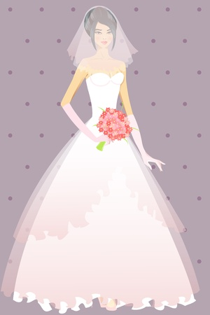 Beautiful girl in wedding dress illustration Stock Vector - 13520331