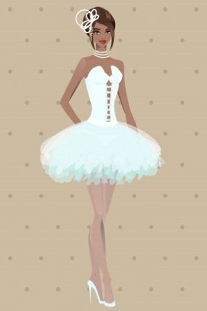 Beautiful girl in wedding dress.  Vector