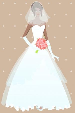 ankleiden: Sch�ne M�dchen im Hochzeitskleid Illustration