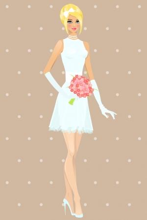 Beautiful girl in wedding dress Vector