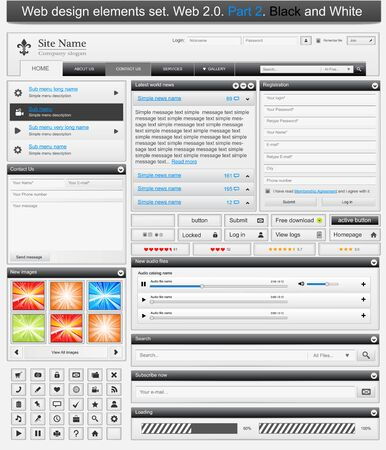 interface design: Web design elements set 2. Black and white