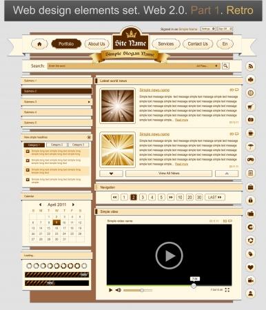 Web design set retro 1 Vector