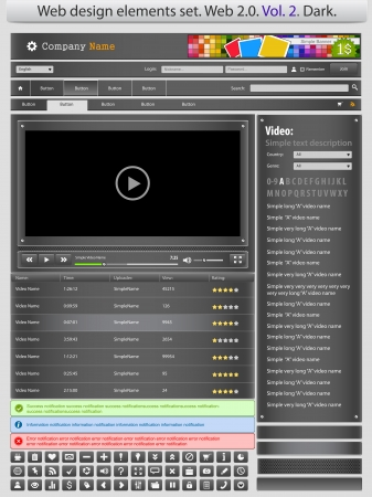 Web design elements set black 2 Vector