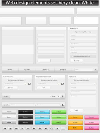 Web design elements set  Clean  White Vector