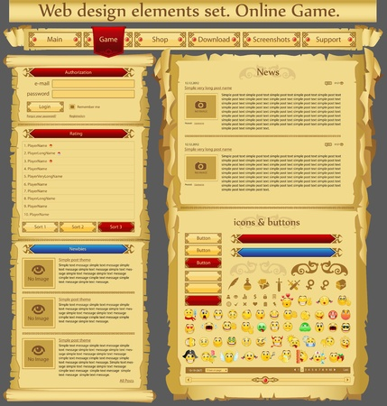 Web design elements set  Game Vector