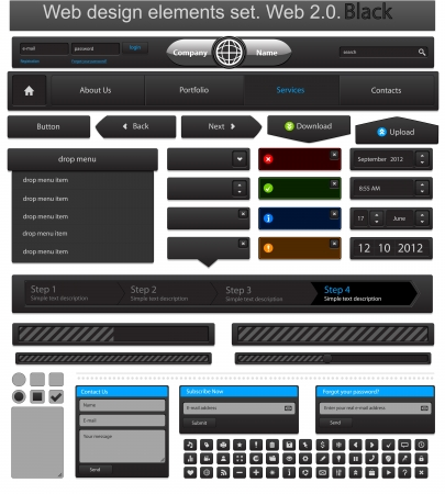 Web design elements set black Stock Vector - 14352500