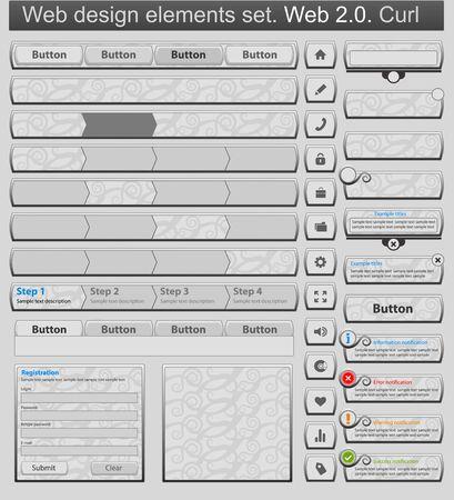 Web design elements set curl Vector
