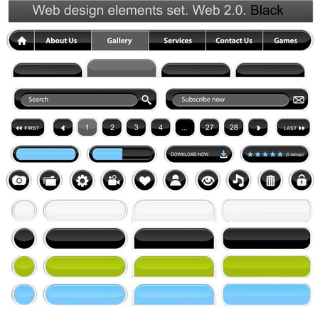search bar: Web design elements set white