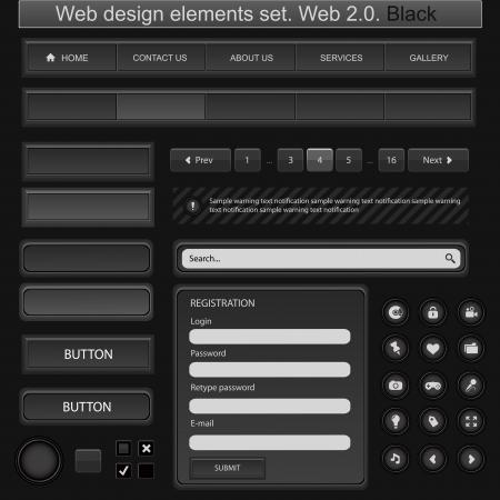 Web design elements set. Black Illustration
