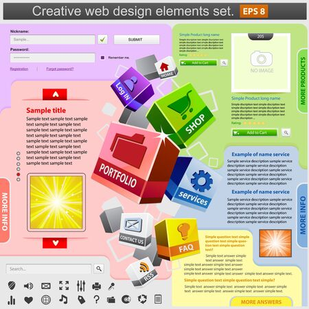 Creative web design elements set. Vector