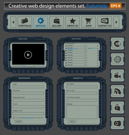 Creative web design elements set. Futuristic Vector