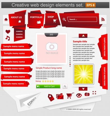 Creative web design elements set red. Vector illustration Illustration