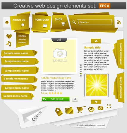 Creative web design elements set yellow Stock Vector - 14352583