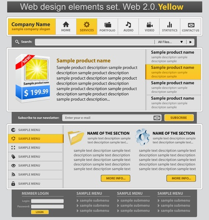 Web design elements set yellow Vector