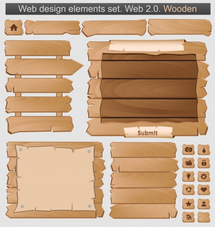 menu button: Wooden web elements set