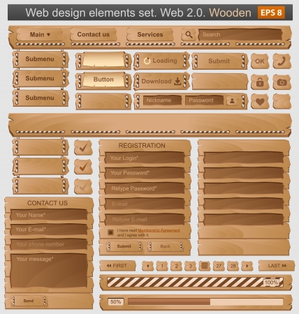 menu button: Web design elements set wooden Illustration