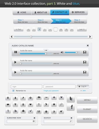 Web 2.0 interface part 3. White and blue