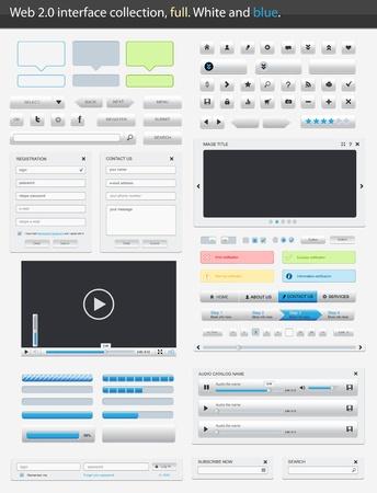 forma: Web 2.0 interfész rész teljes. Fehér és kék