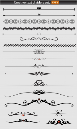 fancy border: Divisores creativos texto que figura Vectores