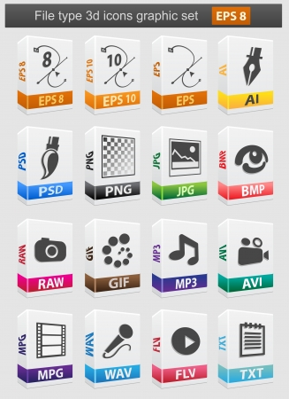 types: File type 3d icons set Illustration