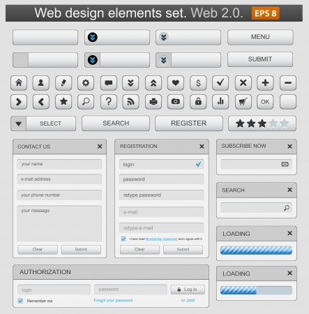 icons site search: Web design elemets set white.